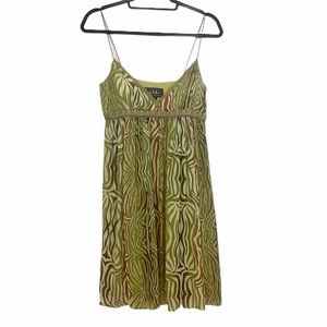 NICOLE MILLER mini dress green 100% silk size 4